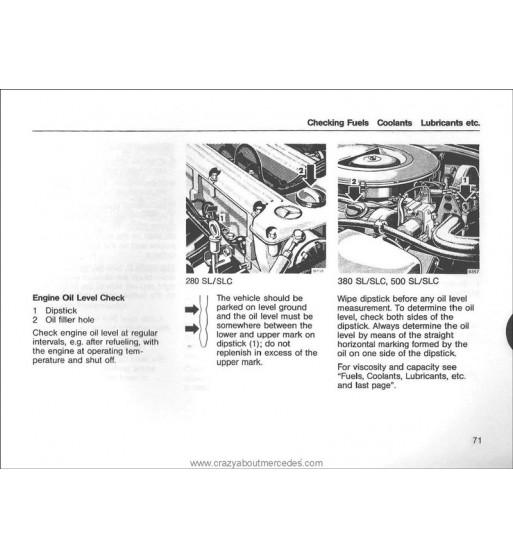 Mercedes Benz 350 SEL Manual | Instrucciones de Servicio | W116