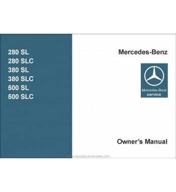Mercedes Benz 380 SL Manual | Owner's Manual | W107.