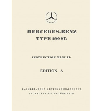 Mercedes Benz 190 SL Manual | Instriction Manual Edition A | W121