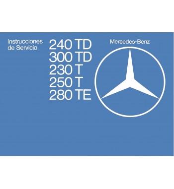 Mercedes Benz 280 TE Manual | Instrucciones de Servicio | W123