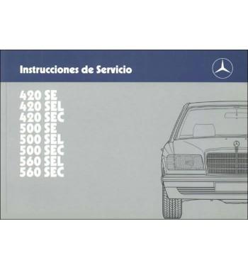 Mercedes Benz 420 SE Manual | Instrucciones de Servicio | W126